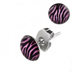 Puces d'oreilles logo zébré noir et violet Dazs PUC052