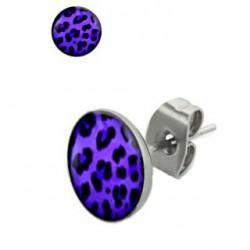 Puces d'oreilles motif léopard violet et noir Dos PUC055