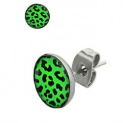 Puces d'oreilles motif léopard vert et noir Doyx PUC055