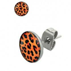 Puces d'oreilles motif léopard orange noir Dax PUC055