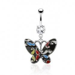 Piercing nombril avec papillon et ailes noire Toz NOM453