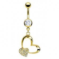 Piercing nombril avec coeur double doré Katoy NOM456