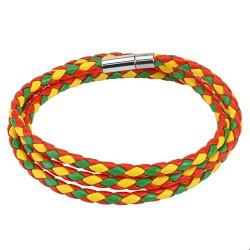 Bracelet double en cuir tressé rouge vert jaune BRA017