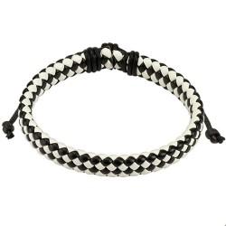 Bracelet noir et blanc tressé en diagonale Hir BRA018