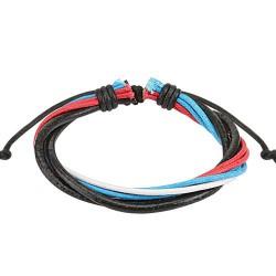 Bracelet cordons cuir rouge bleu blanc noir Tyu BRA019