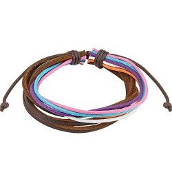 Bracelet cordons cuir rouge bleu violet rose BRA020