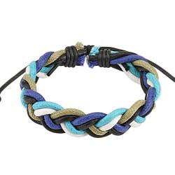 Bracelet cordons cuir cordon tressé bleu Was BRA021