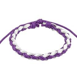 Bracelet cordons tressé cuir violet blanc Wol BRA022