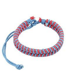 Bracelet cordons tressé cuir rose et bleu Wiq BRA023