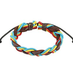 Bracelet cordons tressé rasta en cuir Waj BRA024