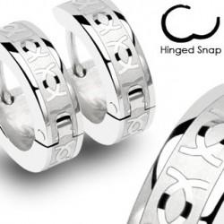 Boucle anneau oreille acier deux CC Chuwa ANN089