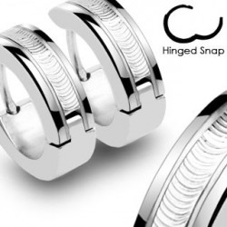 Boucle anneau oreille acier motif strié Chuy ANN090