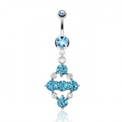 Piercing nombril avec losange bleu Olyx NOM461