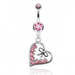 Piercing nombril noeud et coeur rose Ayer NOM462