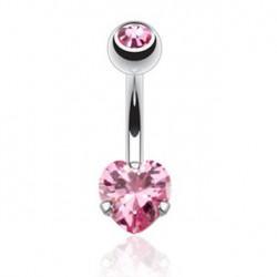 Piercing nombril coeur rose serti Kazi NOM463