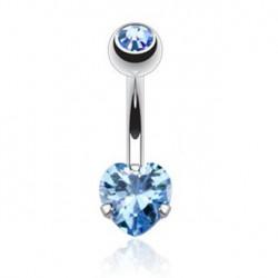 Piercing nombril coeur bleu serti Kasax NOM463