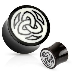 Piercing plug symbole tribal blanc 16mm Tire PLU104