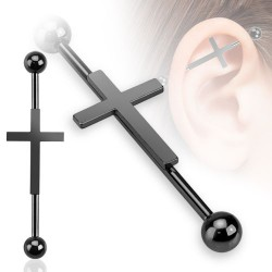 Piercing industriel noir et croix gothique 35mm IND080