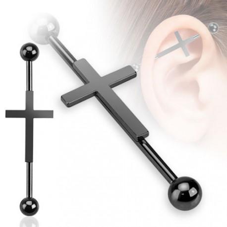 piercing industriel noir et croix gothique 35mm 5 49. Black Bedroom Furniture Sets. Home Design Ideas