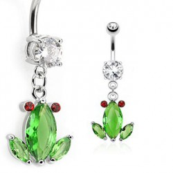 Piercing nombril grenouille en cristal vert NOM467