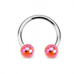 Piercing fer à cheval 10mm et boules orange FER052