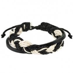 Bracelet en cuir noir et cordes tressées Gal BRA026