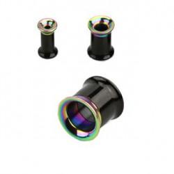 Piercing tunnel noir et arc en ciel 10mm Villot PLU107