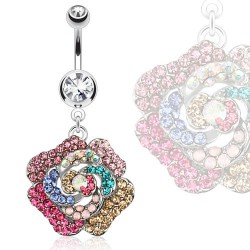 Piercing nombril pendentif et fleur colorée Dao NOM488