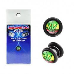 Faux piercing plug aimanté feuille de cannabis FAU193