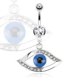 Piercing nombril avec un oeil bleu Qazy NOM499