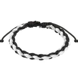 Bracelet en cuir blanc et noir entrelacé Hiera BRA028