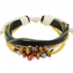 Bracelet cordons cuir noir et perles Won BRA029