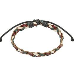 Bracelet en cuir noir blanc olive entrelacé Hijra BRA030