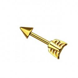 Piercing hélix 8mm flèche doré Roux HEL018