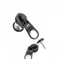 Faux piercing plug fermeture éclair noir Vaz FAU195
