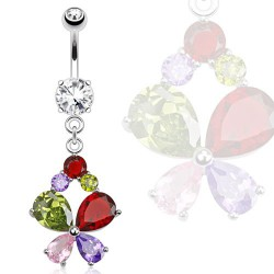 Piercing nombril papillon zirconium Waz NOM506