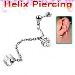 Piercing hélix avec coeur blanc Sfax HEL030