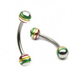 Piercing arcade 10mm avec boules Rasta Laya Piercing arcade4,60€