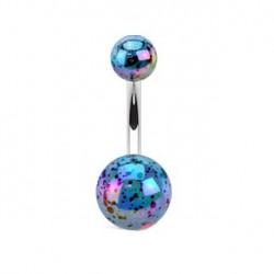 Piercing nombril boule bleu tachetée Jyon NOM035