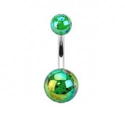 Piercing nombril boule verte tachetée Jazo NOM035
