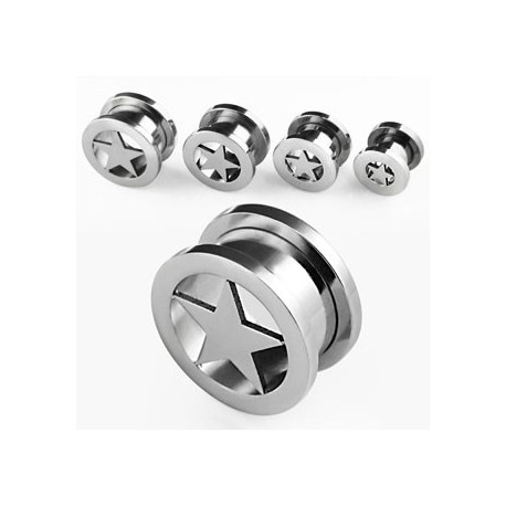 Piercing tunnel étoile 6mm Mona PLU020