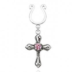 Faux piercing téton croix et zirconium rose Juxa TET065
