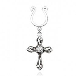 Faux piercing téton croix et zirconium blanc Jita TET065