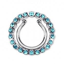 Faux piercing téton bleu et couronne Siw TET068