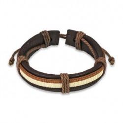 Bracelet en cuir marron Hir BRA031