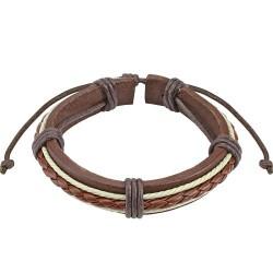 Bracelet en cuir marron et cordes tressées Xase BRA032