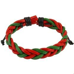 Bracelet en cuir rouge vert tressé Saza BRA033
