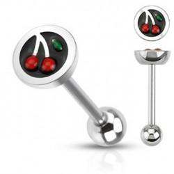 Piercing langue logo cerise Daz LAN044