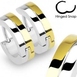 Boucle anneau oreille avec lignes doré Qaga ANN097