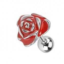 Piercing tragus fleur rouge Araz TRA055
